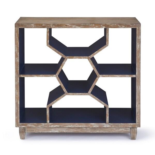 Progressive Mahi Distressed Ash/Cobalt Blue Honeycomb Shelf Accent Console Table