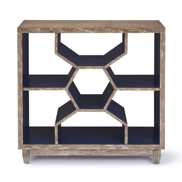 Awesome Progressive Mahi Distressed Ash Cobalt Blue Honeycomb Shelf Accent Console Table Inzonedesignstudio Interior Chair Design Inzonedesignstudiocom