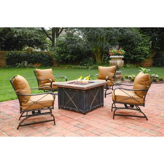 Cambridge Bradford Brown Metal 5-piece Lounge and Fire Pit Table Set