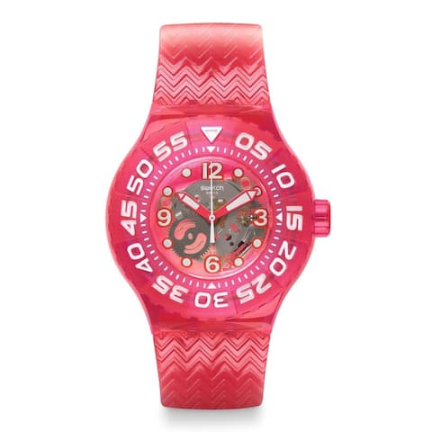 Swatch Women's SUUP100 'Deep Berry' Pink Plastic Watch