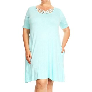 Women's Plus Size Aqua Color Solid Dress