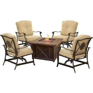 Cambridge Bradford 5-Piece Durastone Fire Pit Conversation Set with Tan Cushions