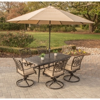 Hanover Traditions Tan Aluminum 7-piece Dining Set with Umbrella and Stand