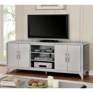 Furniture of America Mieno Contemporary Multi-storage Silver 74-inch TV Stand