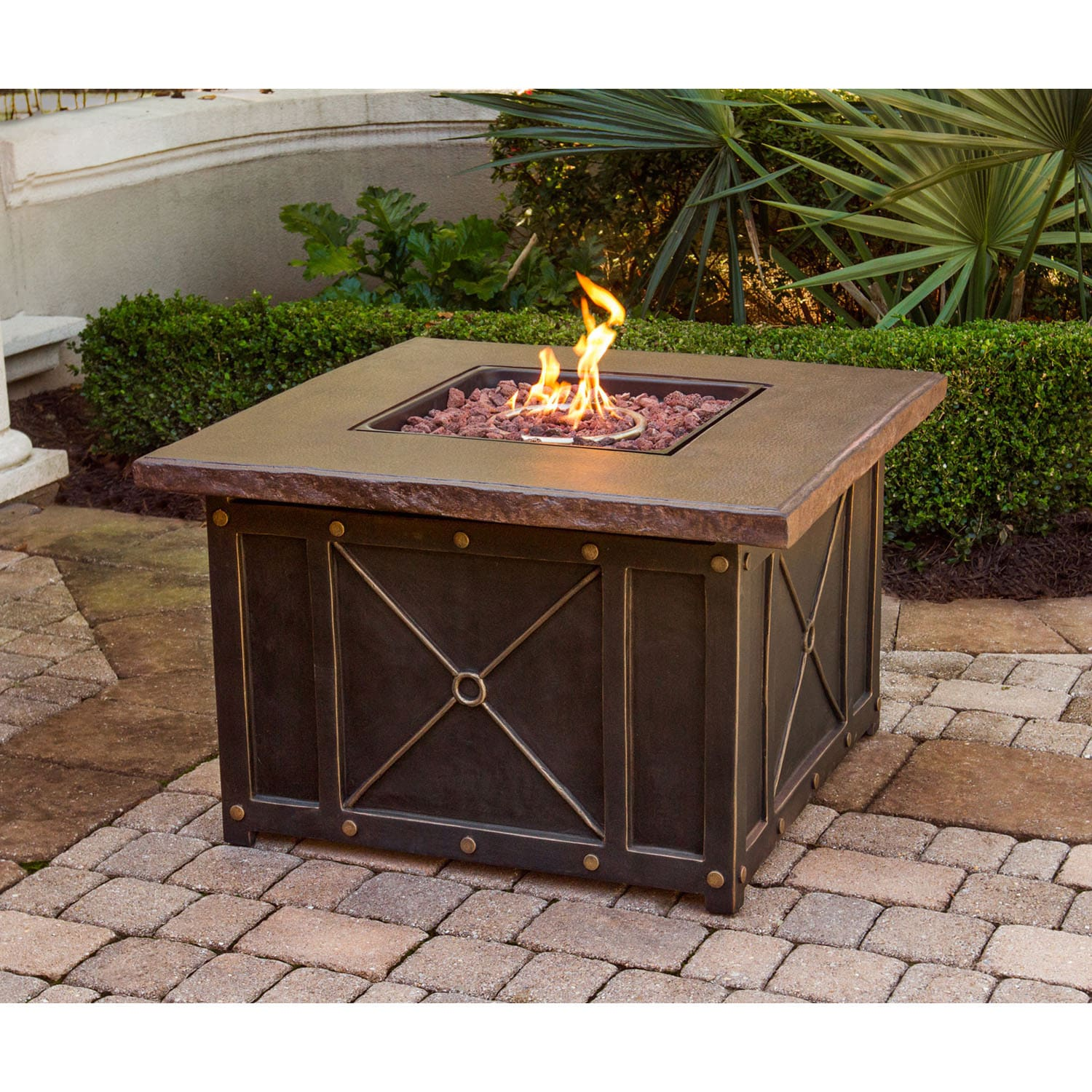 Hanover Durastone Top 40-inch Square Gas Fire Pit (Brown)...