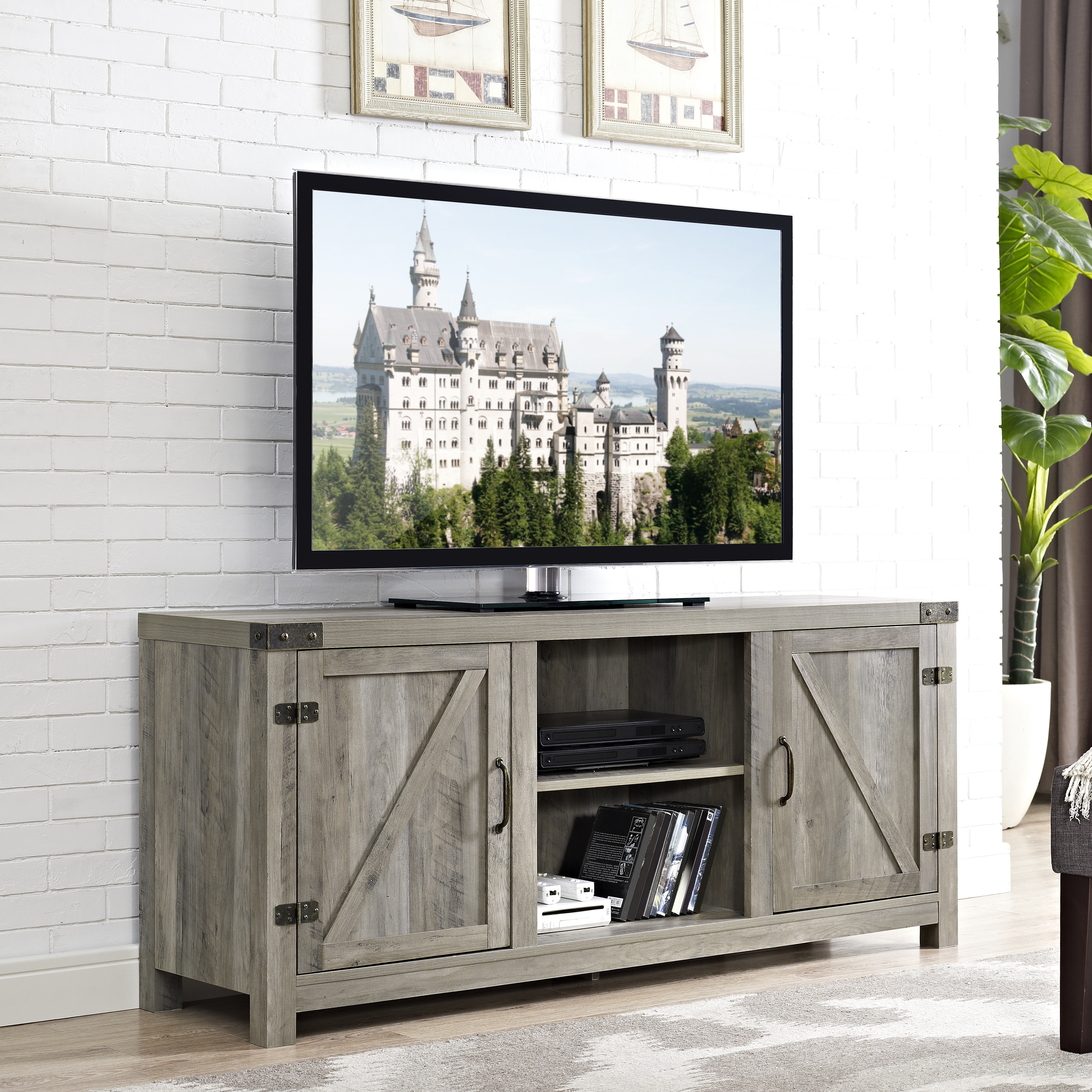 58-inch-Barn-Door-TV-Stand-with-Side- & 58-inch Barn Door TV Stand with Side Doors | eBay pezcame.com