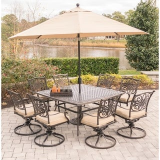 Hanover Traditions 9-Piece Dining Set in Tan with 60 In. Square Cast-Top Dining Table, 11 Ft. Table Umbrella, and Umbrella Stand