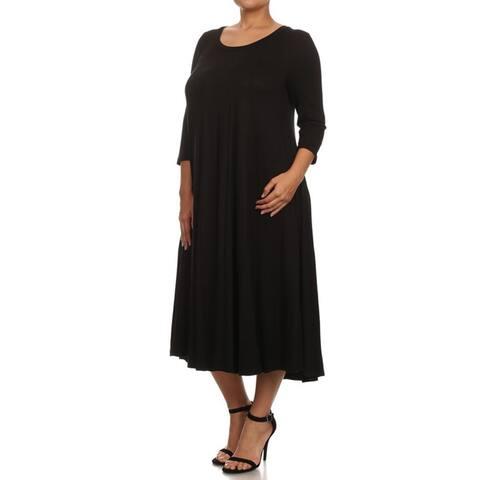 Women's Plus Size Black Solid Dress