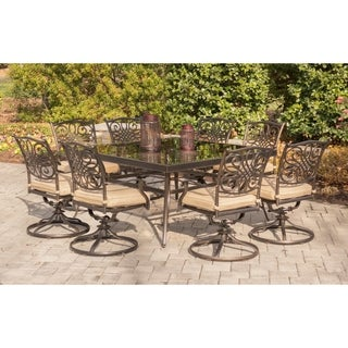 Hanover Traditions Tan Aluminum 9-piece Dining Set with 60-inch Square Glass-top Dining Table