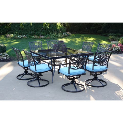 Hanover Traditions Blue Aluminum 9-Piece 60-inch Dining Set With Square Glass-top Dining Table