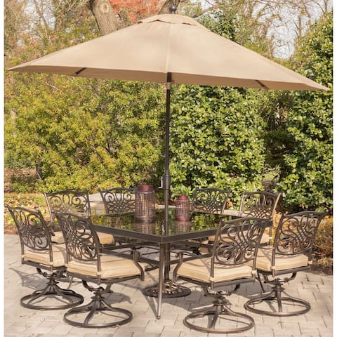 Hanover Traditions Tan Aluminum 9-piece Outdoor Dining Set