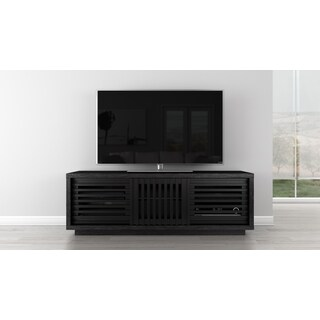FURNITECH 64-inch Black American Oak Media Console