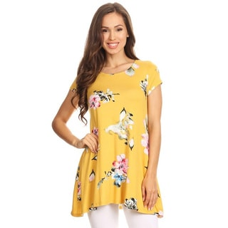 Women's Yellow Floral Pattern Tunic