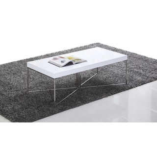 B-Modern Mixer High-Gloss White and Stainless Steel Coffee Table