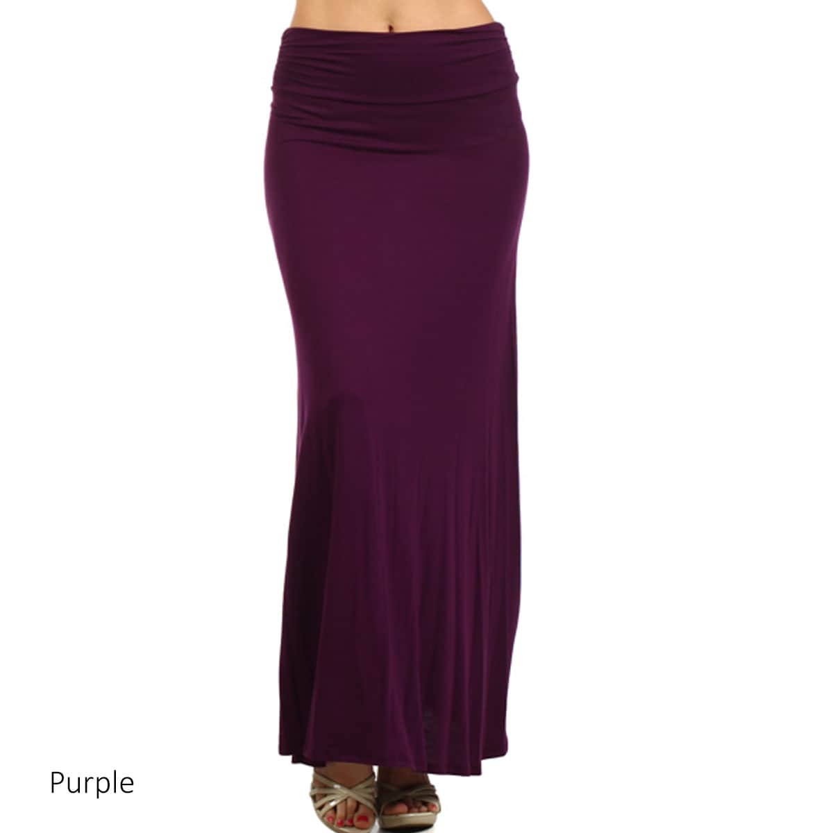 Women's Solid Color Flared Maxi Skirt (Royalblue-Small), ...