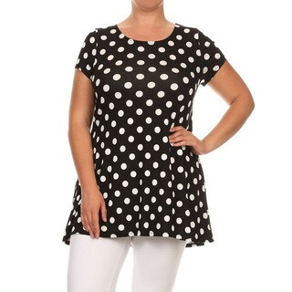 Women's Plus Size Black Polka Dot Tunic