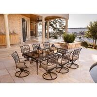 Hanover Traditions Tan Aluminum 9-piece Dining Set with Extra Large Glass-top Dining Table