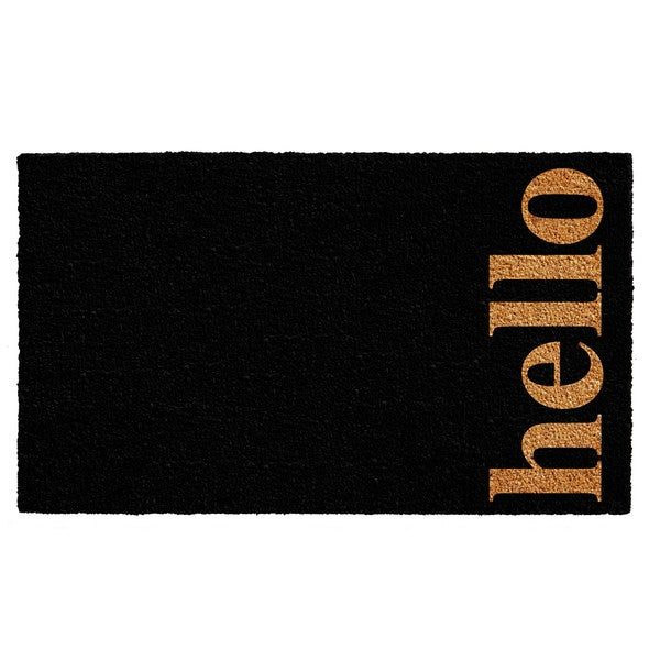 Black/Natural 24 X 36 Inch Vertical Hello Doormat