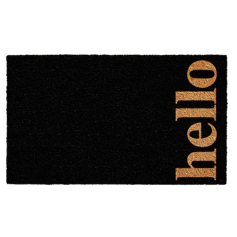 Black/Natural 24 x 36-inch Vertical Hello Doormat