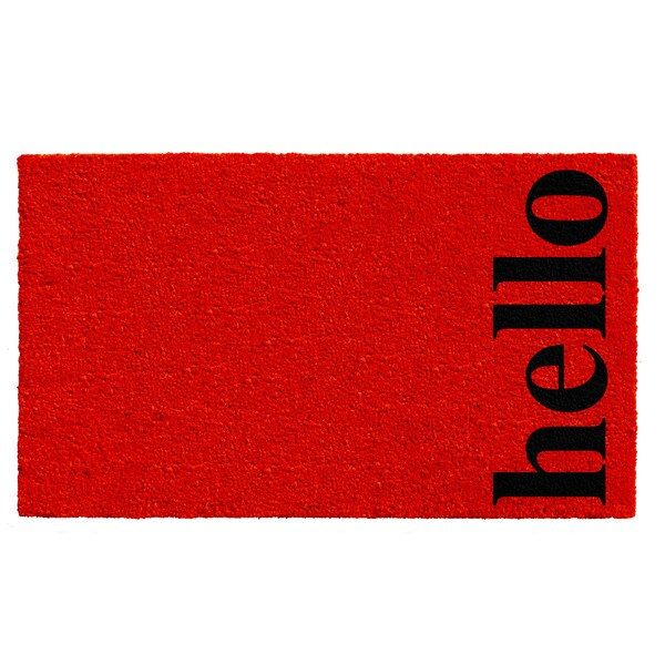 Red/Black 17 X 29 Inch Vertical Hello Doormat