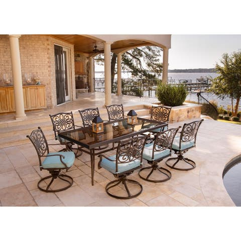 Hanover Traditions Blue Aluminum 9-piece Dining Set with Extra-large Glass-top Dining Table