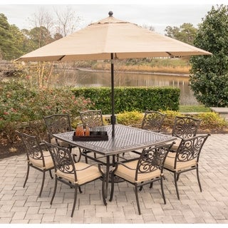 Hanover Traditions 9-Piece Dining Set in Tan with Square 60 In. Cast-Top Dining Table, 11 Ft. Table Umbrella, and Umbrella Base