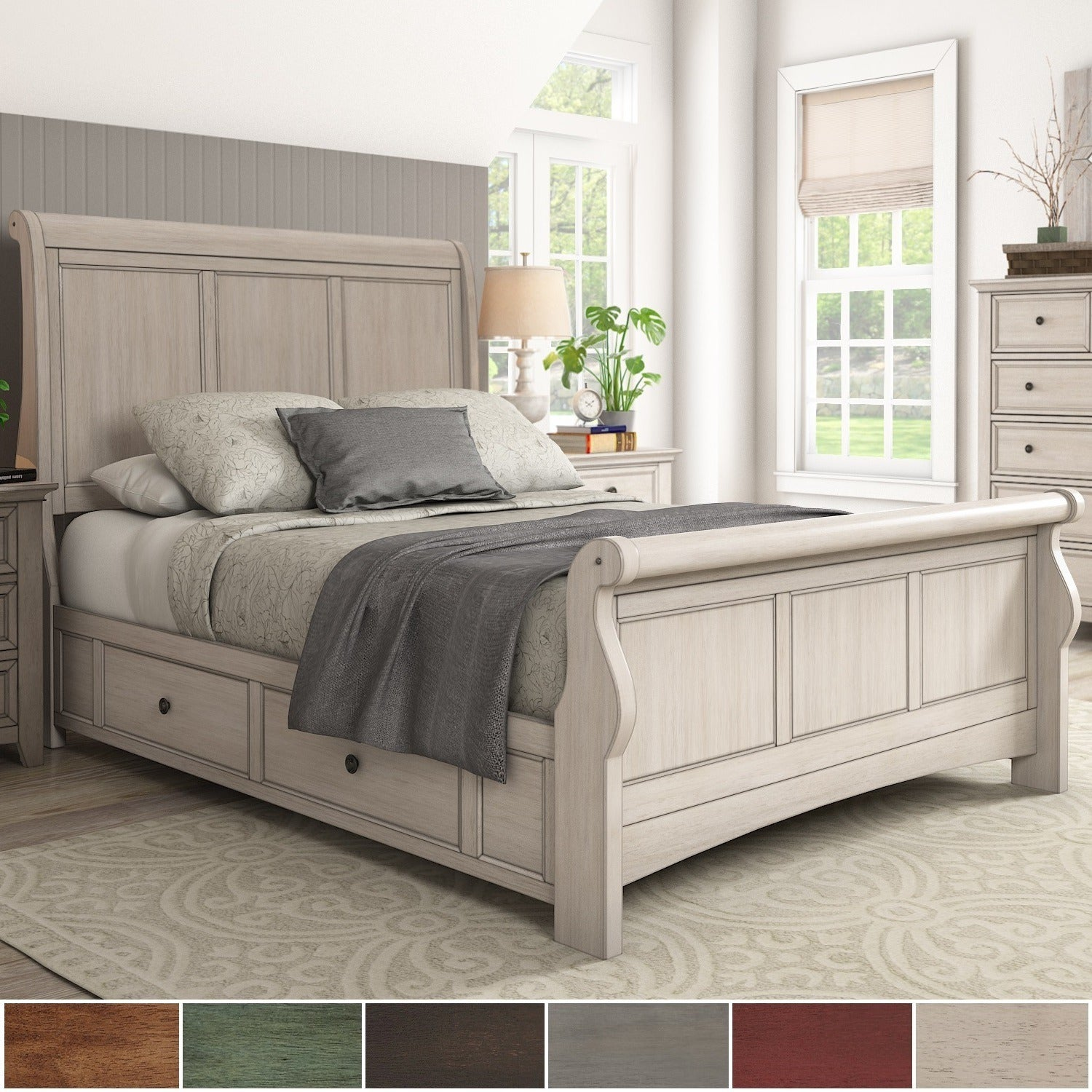 Ediline-Queen-Size-Wood-Sleigh-Storage-Platform-Bed-