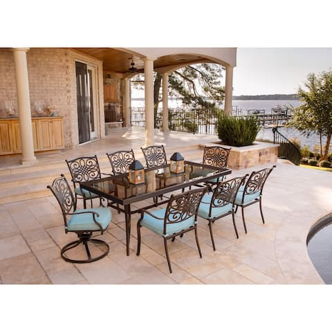 Hanover Traditions Blue Aluminum 9-piece Dining Set