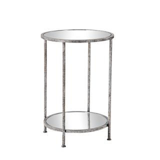 Burnham Home Designs Wyatt Collection Silvertone Iron and Clear Glass Side Table