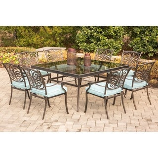 Hanover Traditions Bronze-finished Aluminium Blue Cushions 9-piece Dining Set with 60-inch Square Glass-top Table