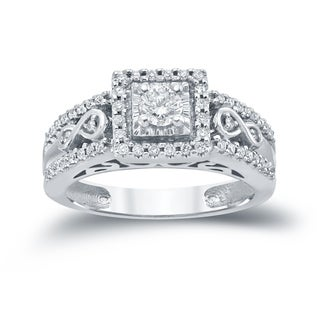 Auriya 14k 3/5ct TDW Round Diamond Cluster Engagement Ring ( H-I I1-I2)