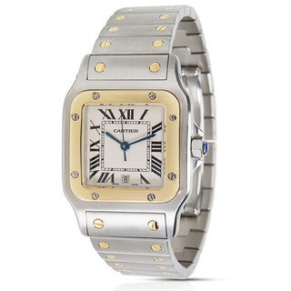 Pre-Owned Cartier Santos Galbee W20011C4 Men's Watch in 18K Yellow Gold & Stainless Steel