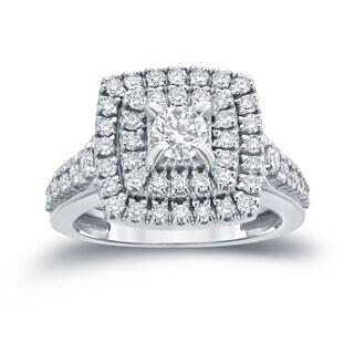 Auriya 14k 1 2/5ct TDW Round Diamond Cluster Engagement Ring ( H-I I1-I2)