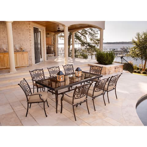 Hanover Traditions Tan 9-piece Dining Set with Extra-long Glass-top Dining Table