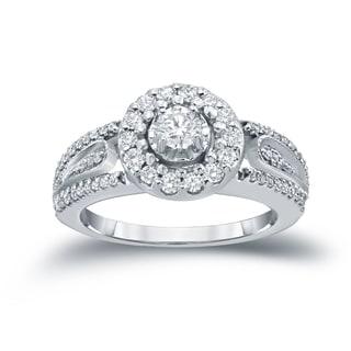 Auriya 14k 1/2ct TDW Round Diamond Cluster Engagement Ring ( H-I I1-I2)