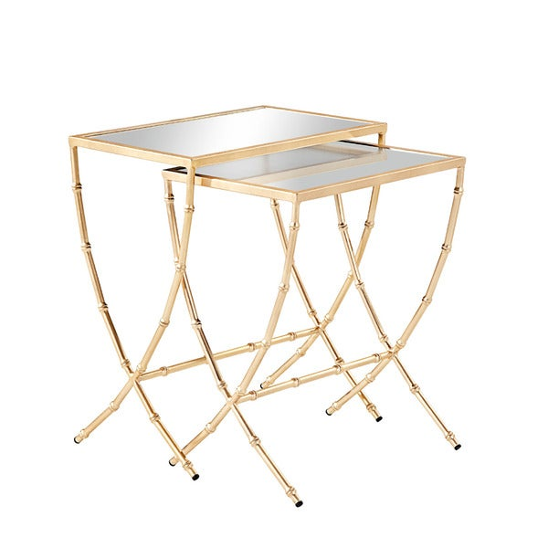 Burnham Home Designs Sterling Iron And Glass Nesting Tables (Set Of 2)