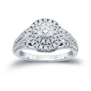 Auriya 14k 1ct TDW Round Diamond Cluster Engagement Ring ( H-I I1-I2)