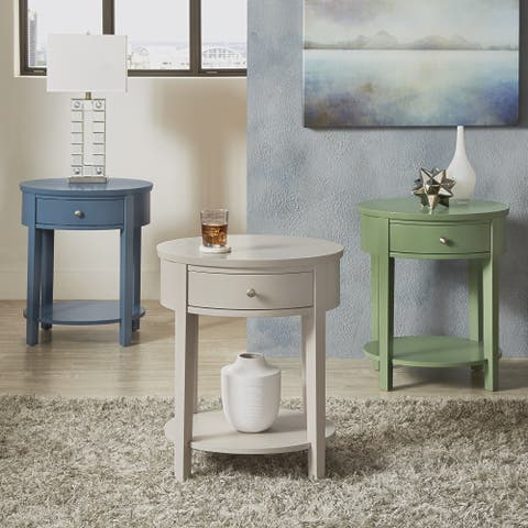 Fillmore II 1-drawer Oval Wood Shelf Accent End Table iNSPIRE Q Modern