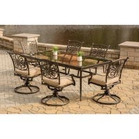 Hanover Traditions Tan Aluminum 7-piece Dining Set with Extra-large Glass-top Dining Table