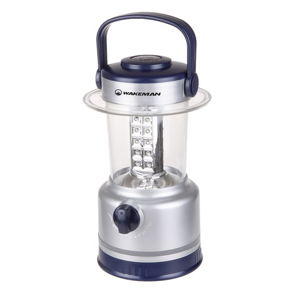 LED Lantern, Outdoor Camping Lantern Flashlight With Built-In Compass By Wakeman Outdoors (Silver)
