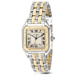 Pre-Owned Cartier Panthere W25028B6 Unisex Watch in 18K Yellow Gold & Stainless Steel