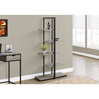 Black Metal 60-inch Bookcase with Dark Taupe Shelves