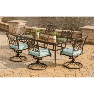 Hanover Traditions Blue Aluminum 7-piece Dining Set with Extra Large Glass-top Dining Table