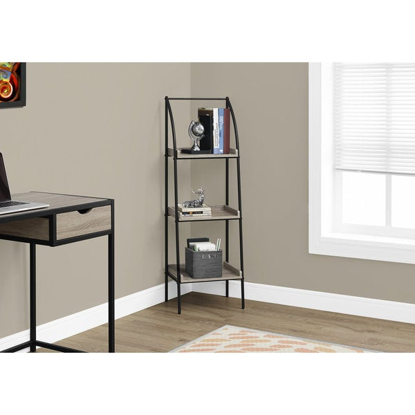 Shop Black Metal 48-inch Bookcase with Dark Taupe Shelves ...