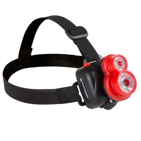 LED Headlamp, Adjustable Head Lamp Handsfree Flashlight with 2 LED And 90 Lumen, For Camping By Wakeman Outdoors (Red)
