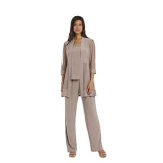 R&M Richards Taupe Pant Set (Option: 6)|https://ak1.ostkcdn.com/images/products/15951754/P22350897.jpg?impolicy=medium