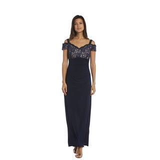 R & M Richards Women's Navy and Taupe Lace Evening Gown