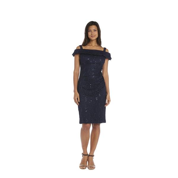 c2547c0c297b Shop R M Richards Women s Navy Off-the-Shoulder Cocktail Dress ...