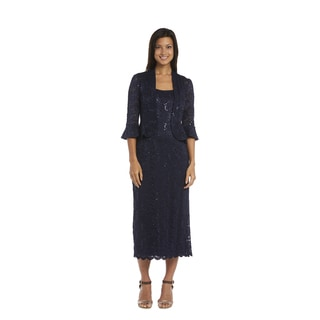 R & M Richards Women's Navy Blue Lace Jacket Dress