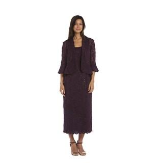 R&M Richards Plum Lace Jacket Dress